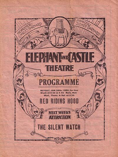 A Programme for 'Red Riding Hood' at the Elephant & Castle Theatre on January the 28th 1920.