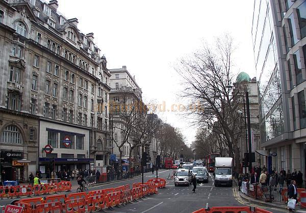 Photograph showing Kingsway in 2008 from the same position as the postcard above, albeit at a lower angle. The Holborn Restaurant has been replaced by a new building housing shops and offices, just visible to the right of the image. - Photo M.L. 2008.