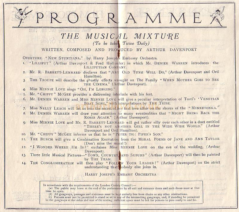 Programme detail from 'The New Stunt' at the Embassy Theatre, High Holborn for the 1st of October 1923.