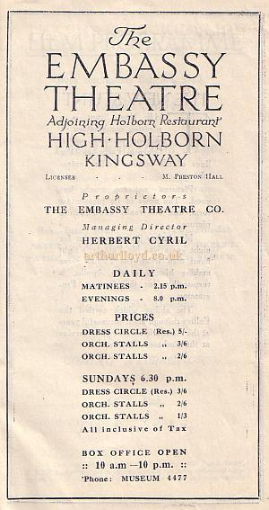 Programme for the Embassy Theatre, High Holborn for the week of the 1st of October 1923.