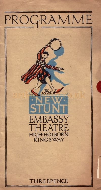 Programme for 'The New Stunt' at the Embassy Theatre, High Holborn for the week of the 1st of October 1923.