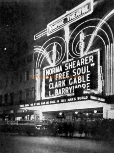 The Empire, Leicester Square whilst showing the film 'A Free Soul' with Norma Shearer, Clark Gable, and Lionel Barrymore - From the Bioscope, October 7th 1931.