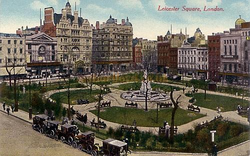 Early 20th century postcard of Leicester Square showing the Empire Theatre (top left) and the Alhambra Theatre (far right).