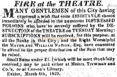 The advertisement printed in Trewman's Exeter Flying Post which accompanied the report of the Exeter Theatre being destroyed by fire on the 8th of March 1820.