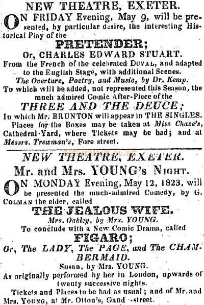 A cutting from Trewmans Exeter Post of the 8th of May 1823 advertising forthcoming productions at the New Theatre, Exeter.