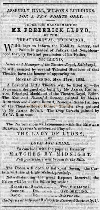 An advertisement from the Falkirk Herald for a programme at the Falkirk Assembly Hall, Wilson's Buildings, under the Management of Frederick Lloyd in May 1852 - Courtesy Graeme Smith.