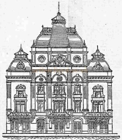 The unbuilt Falkirk Grand Theatre design of 1900 by Alexander Gauld - From the Falkirk Herald.