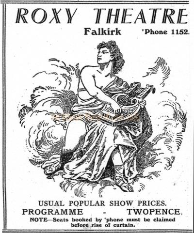 An advertisement for the Falkirk Roxy Theatre possibly 1950s - Courtesy Bob Bain.