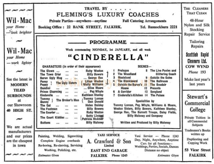 A 1950s Programme for 'Cinderella' at the Roxy Theatre, Falkirk - Courtesy Bob Bain