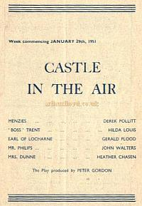 A Farnham Repertory Company Programme for 'Castle in the Air' at the Castle Theatre, Farnham. - Courtesy Alan Chudley.