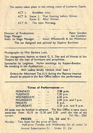 Farnham Repertory Company Programme for 'Castle in the Air' at the Castle Theatre, Farnham.