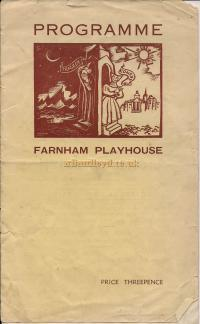 A Programme for 'Pygmalion' at the Farnham Playhouse in 1940. The Theatre would become known as the Castle Theatre the following year - Courtesy Dai Lesty.