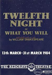 "Programme for ""Twelfth Night"" at the Redgrave Theatre, Farnham in March 1984 - Courtesy Alan Chudley"