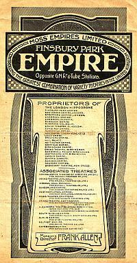 Variety Programme for the Finsbury Park Empire on Monday the 6th of January 1919, with Vesta Tilley, Harrow Bros, The Great Trampola, Four Clovelly Girls, W. V. Robinson, Lucille Benstead, and Gilday & Fox - Click to see entire Programmme.