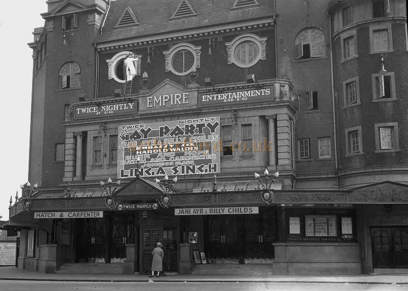 "The Finsbury Park Empire during the run of 'Gay Party' in 1929 - Courtesy Nigel Dutt whose Grandfather Amar Dutt alias Linga Singh, toured the country up and down with his ""spectacular illusions"" from 1910 until he died while on a date at West Bromwich."