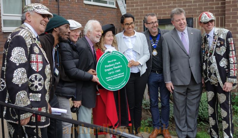 The Mayor of Islington Councillor Una O'Halloran, Chas McDevitt, Adam Borzone, Mark Fox, and residents of Vaudeville Court and the Pearly Kings, pose for a photograph at the unveiling of the Islington People's Plaque for the Finsbury Park Empire on the 10th of October 2017 - Courtesy Adam Harrison.