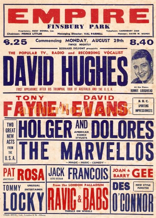 A Variety Poster for the Finsbury Park Empire in 1955 - Courtesy Chris Woodward.