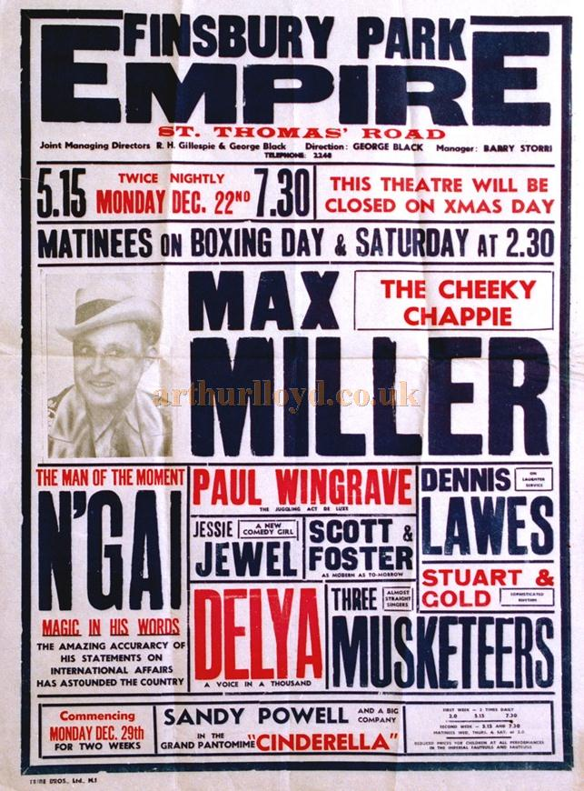 A poster for a variety show at the Finsbury Park Empire from Monday the 22nd of December 1941 - Courtesy Tony Craig whose mother Jessie Jewel was on the Bill along with the great Max Miller and others.
