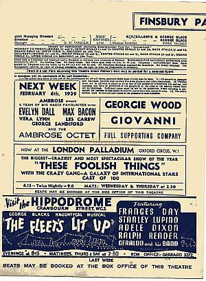 Programme details for the Finsbury Park Empire 1939 - Courtesy Brian Kendal.