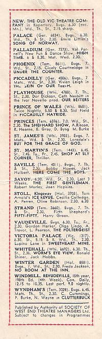 Slip inside 'Fools Rush In' Programme of 1946 advertising shows currently playing in London's West End.