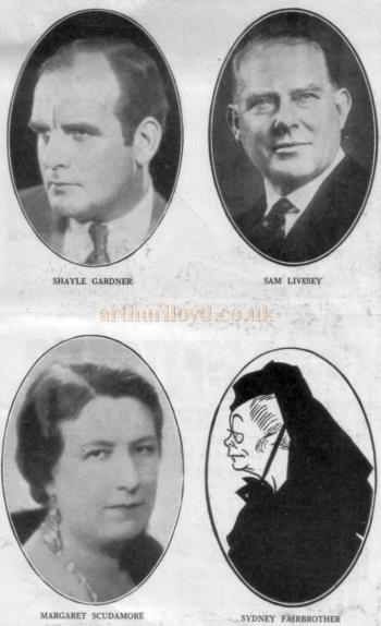 Cast members from the People's Theatre production of 'The Man From Blankleys' at the Fortune Theatre in October 1930.