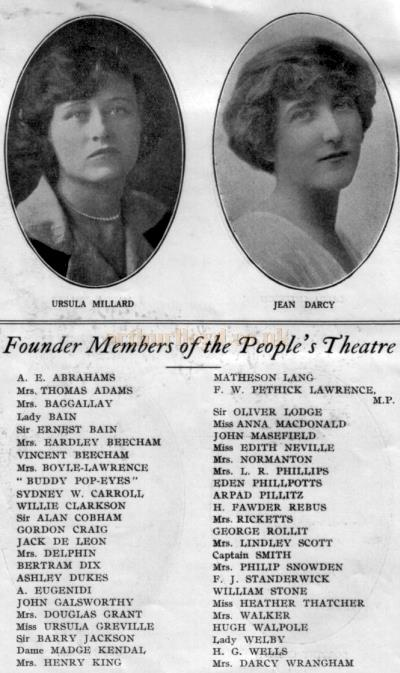Cast members from the People's Theatre production of 'The Man From Blankleys' at the Fortune Theatre in October 1930. And Founder Members of the People's Theatre.