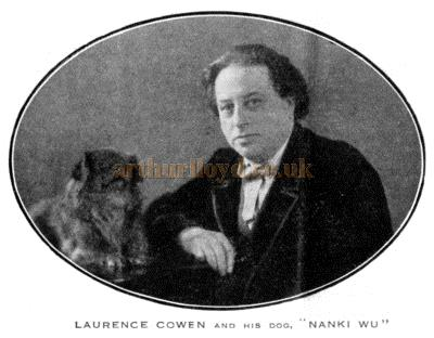 "Laurence Cowen who wrote the opening play 'Sinners' for the Fortune Theatre, and his dog ""Nanki Wu""."