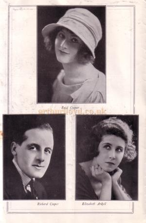 Enid Cooper, Richard Cooper, and Elizabeth Arkell - from the programme for 'Are You A Mason' at the Fortune Theatre in February 1925.