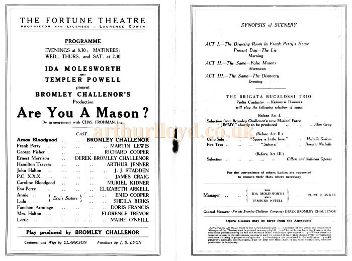 Cast Details from the programme for 'Are You A Mason' at the Fortune Theatre in February 1925
