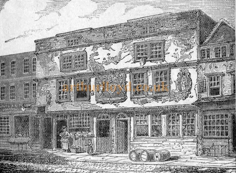 A Sketch of the original Fortune Theatre in Golden Lane, Cripplegate - From 'Diproses Book of the Stage and the Players' Circa 1877.