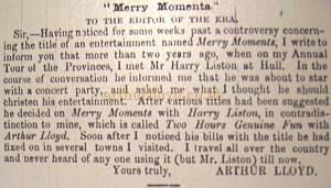 """Merry Moments""  To the editor of the ERA. by Arthur Lloyd."