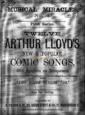 A Book of Arthur Lloyd songs performed in Two Hours Genuine Fun - Courtesy John Grice