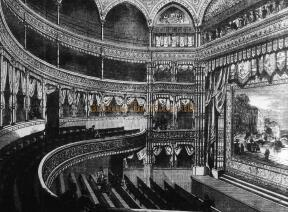 The auditorium of the first Gaiety Theatre of 1868 - From 'The Lost Theatres Of London' Raymond Mander and Joe Mitchenson.