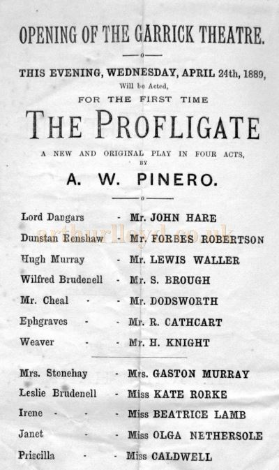 A Programme for 'The Profligate', the opening production at the Garrick Theatre on the 24th of April 1889 - Courtesy Philip Nichols.