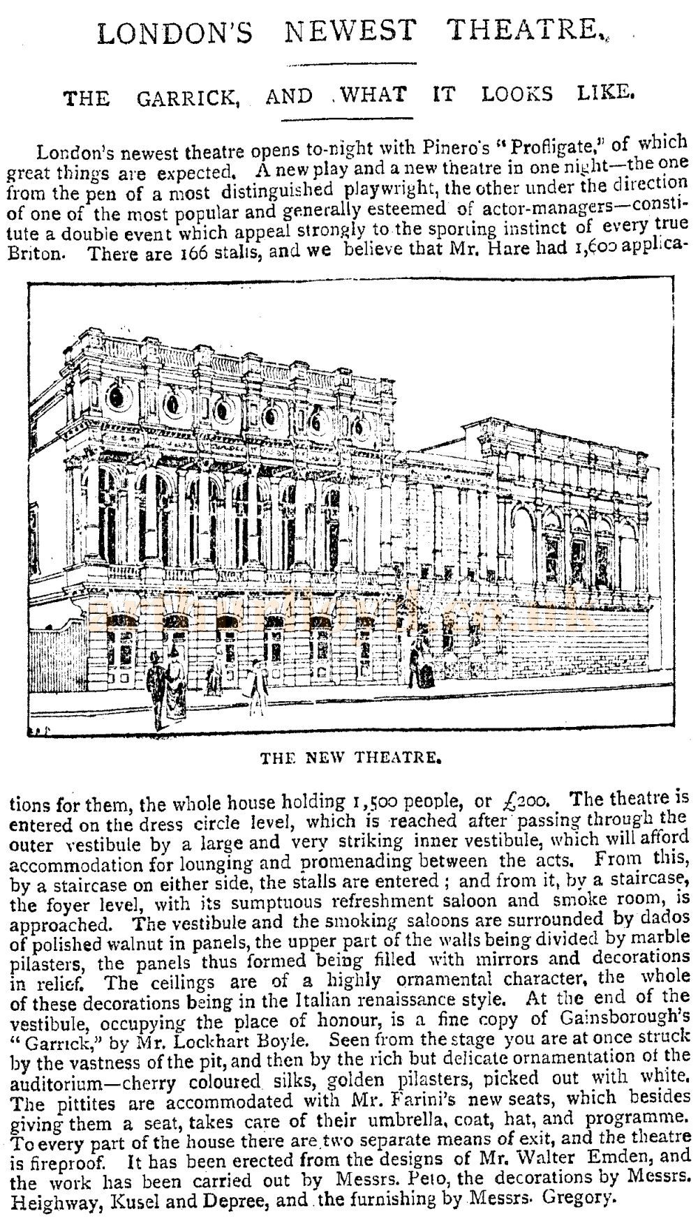 A Sketch and Description of the newly opened Garrick Theatre - From the Pall Mall Gazette, 24th April 1889.