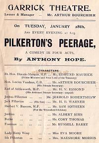 Programme detail for ' Pilkerton's Peerage' at The Garrick Theatre 1902.