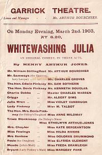 A Programme for ' Whitewashing Julia' at The Garrick Theatre early 1903.