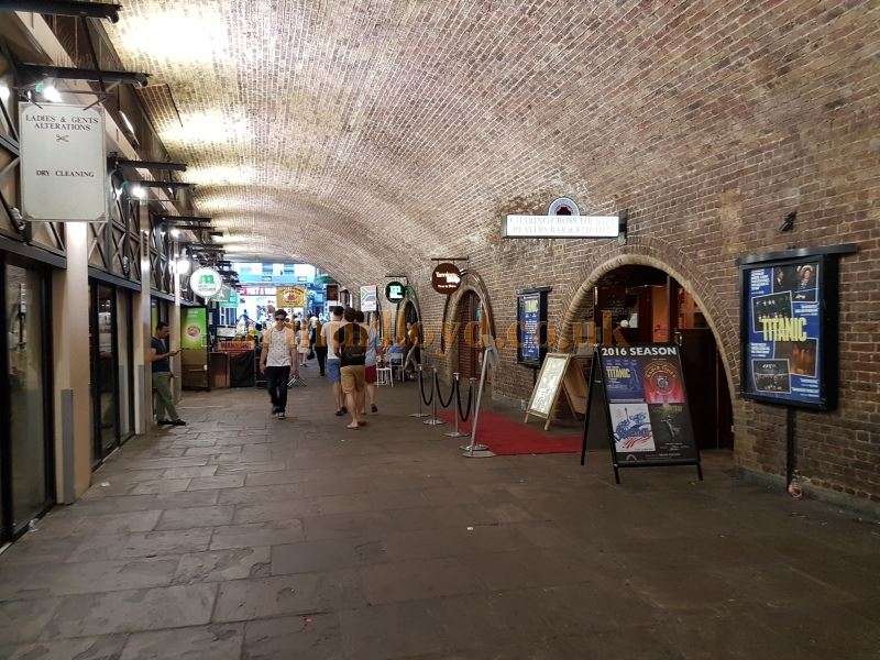 The Arches, off Villiers Street, and the Entrance and Foyer of the Charing Cross Theatre during the run of 'Titanic' in July 2016