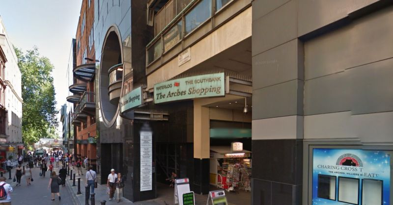 A Google StreetView Image of the Entrance to The Arches, off Villiers Street, and The Charing Cross Theatre - Click to Interact.