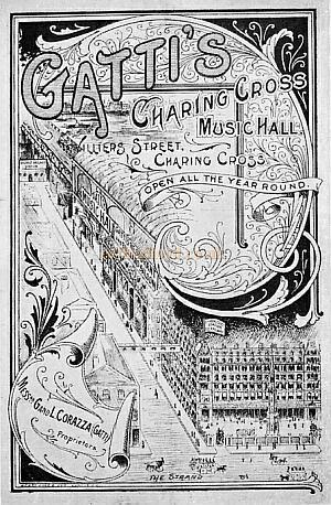 Programme for Gatti's Music Hall, Villiers Street, Charing Cross.
