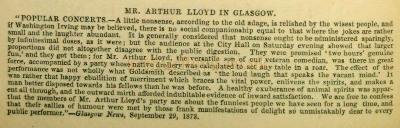 Mr. Arthur Lloyd in Glasgow - Cutting from the Era Almanack of 1874 - Courtesy Jennifer Carnell.