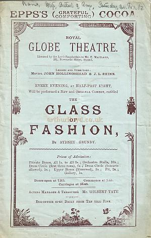 A Programme for 'The Glass Of Fashion' at The Royal Globe Theatre - Monday 26th November, 1883 - Click for details.