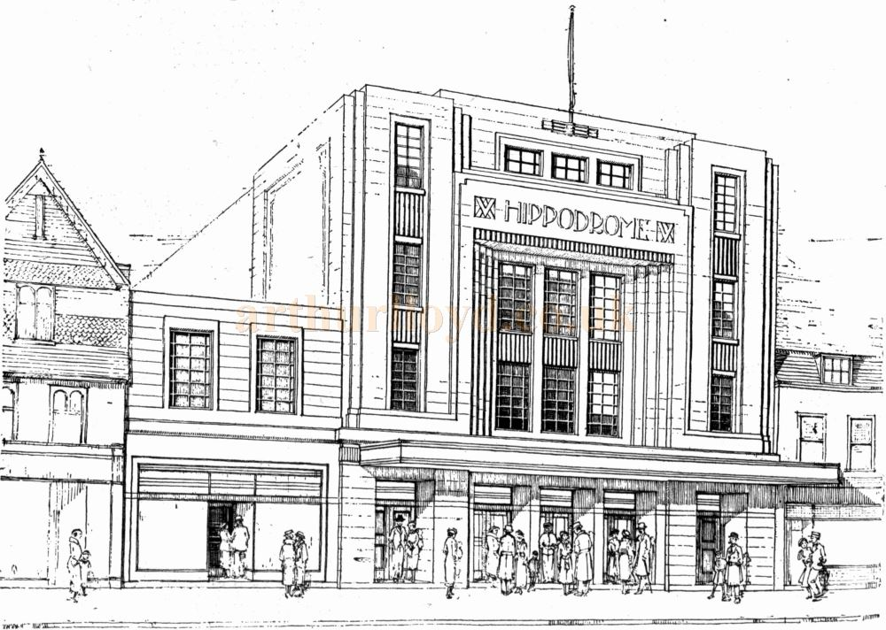 A Sketch showing the Gloucester Hippodrome in 1935 - From the Gloucester Citizen, 22nd March 1935.