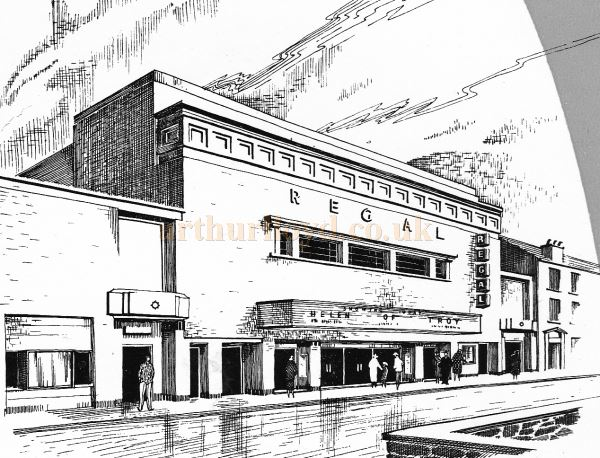 The Exterior of the Regal Theatre, Gloucester - From the Opening Souvenir Brochure for the Regal Theatre, Gloucester on the 19th of March 1956 - Courtesy Ron Knee.