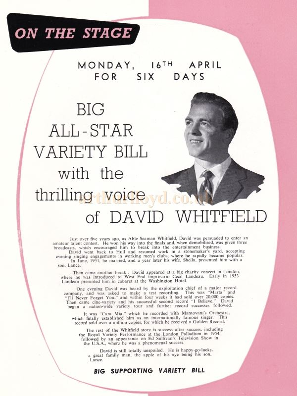 An All Star Variety Bill featuring David Whitfield - From the Opening Souvenir Brochure for the Regal Theatre, Gloucester on the 19th of March 1956 - Courtesy Ron Knee.