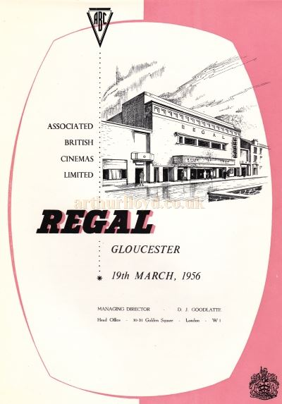 A page from the Opening Souvenir Brochure for the Regal Theatre, Gloucester on the 19th of March 1956 - Courtesy Ron Knee.