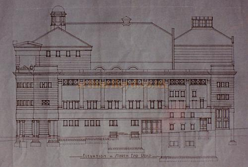 Bertie Crewe's original design drawing of the South Elevation of the Golders Green Hippodrome.