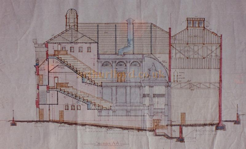 Bertie Crewe's original design drawing of a section through the centre line of the Golders Green Hippodrome.