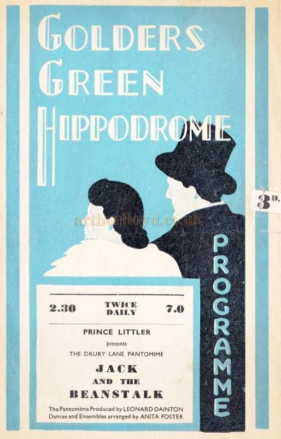 A 1940s Programme for the Pantomime Jack & The Beanstalk at the Golders Green Hippodrome.
