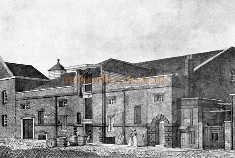 The Goodman's Fields Theatre, Great Alie Street, London in 1801 - From 'London Town Past and Present' Vol 2 by W. W. Hutchings 1909.